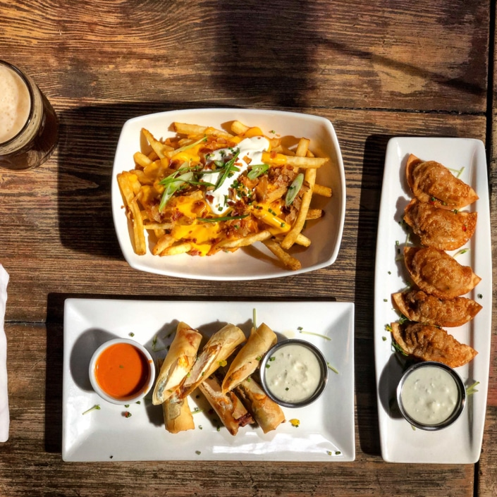 Cheesy Fries, Wontons, and Spring Rolls