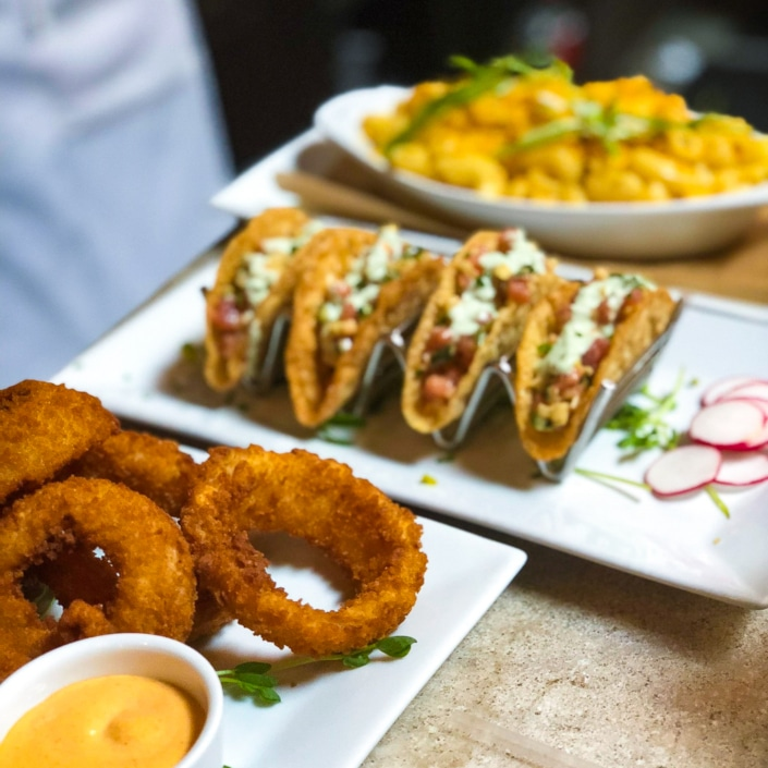 Onion Rings, Sashimi Tacos